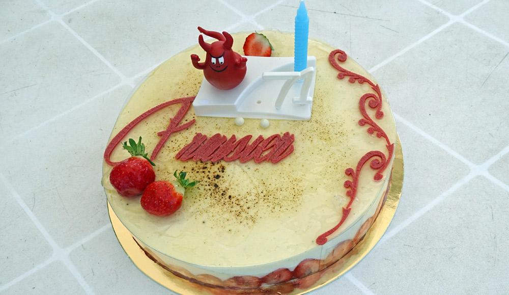 Fraisier (biscuit léger aux amandes, crème légère vanille, fraises)