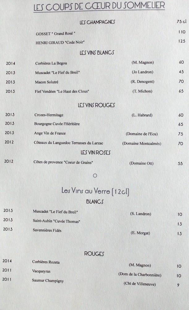 Carte des vins : coups de coeur du sommelier