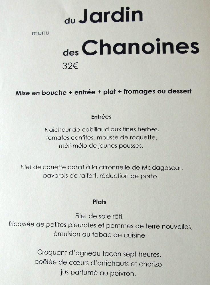 Menu des Chanoines à 32 € 00