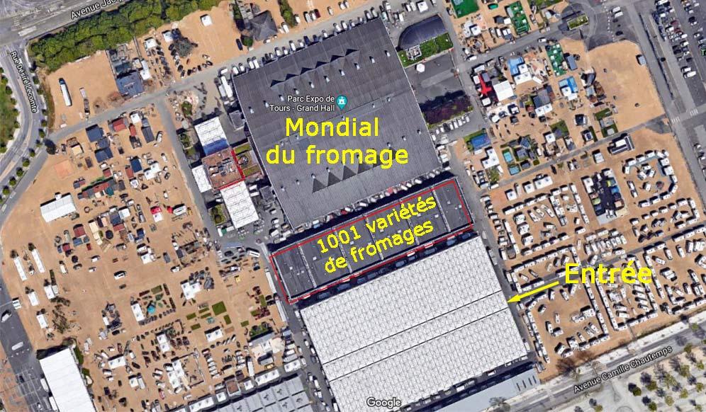 Plan du Parc des Expositions de Tours - Source photo : Google Maps