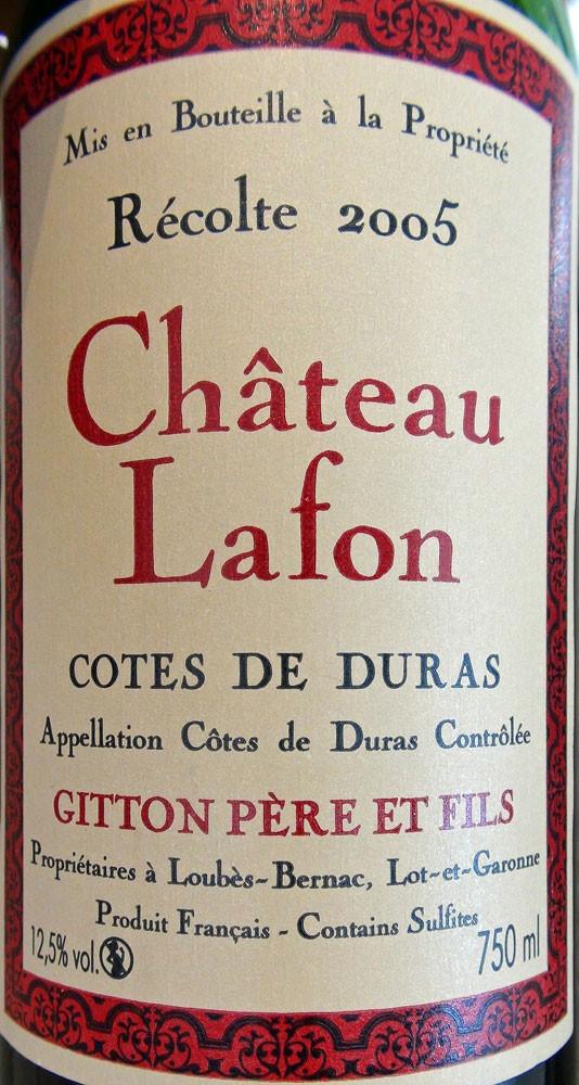 Côtes de Duras 2005 sur la Joue de bœuf