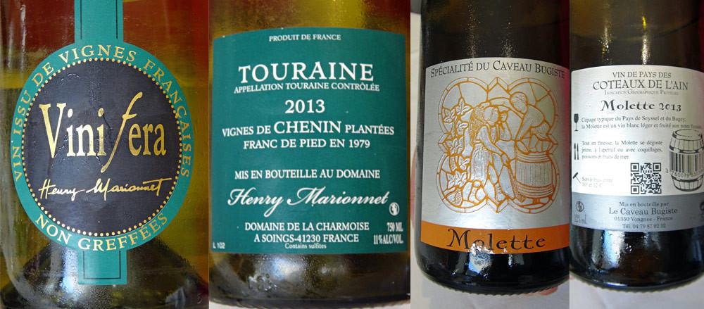 Le Touraine Vinifera chenin 2013, à l'acidité redoutable et dévastatrice, sera remplacé par une agréable découverte, l'IGP Côteaux de l'Ain 2012 de cépage Molette