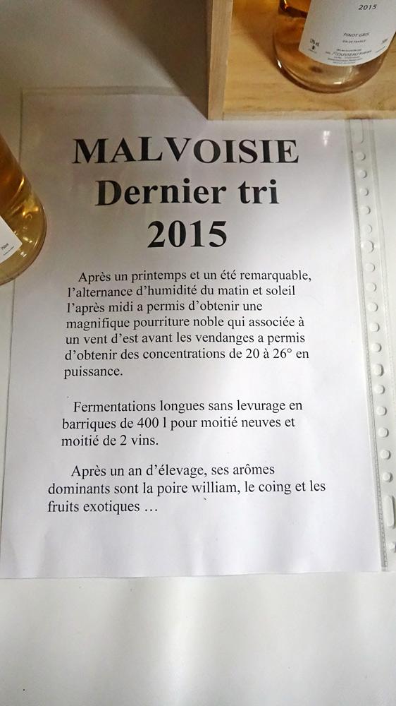 Malvoise (ou Pinot gris) Dernier tri 2015