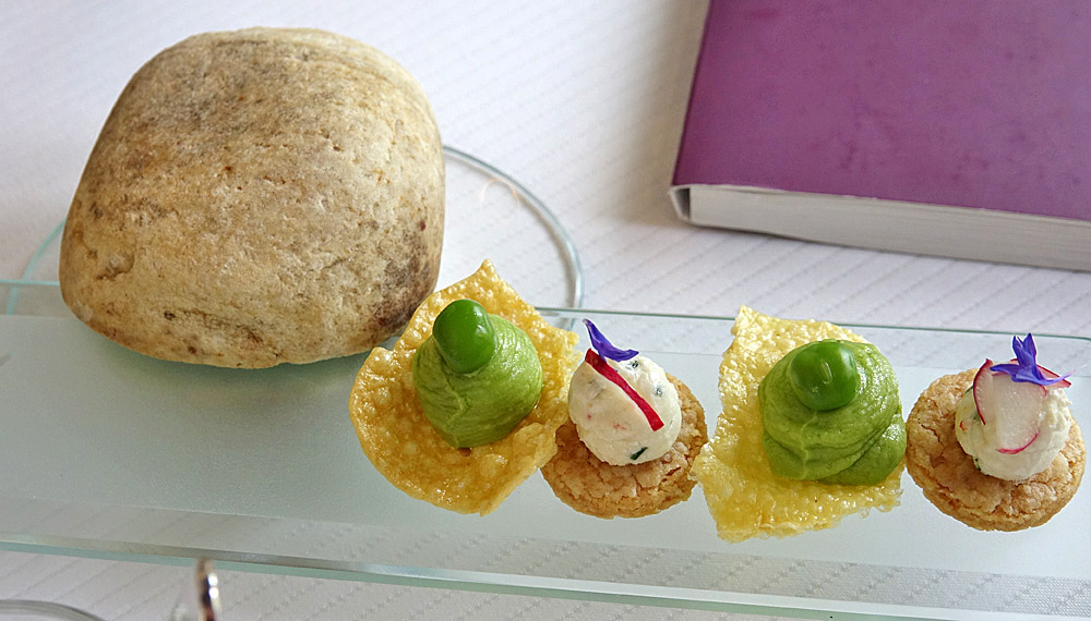 Chips de maïs et crémeux petits pois - Fromage de Rodez