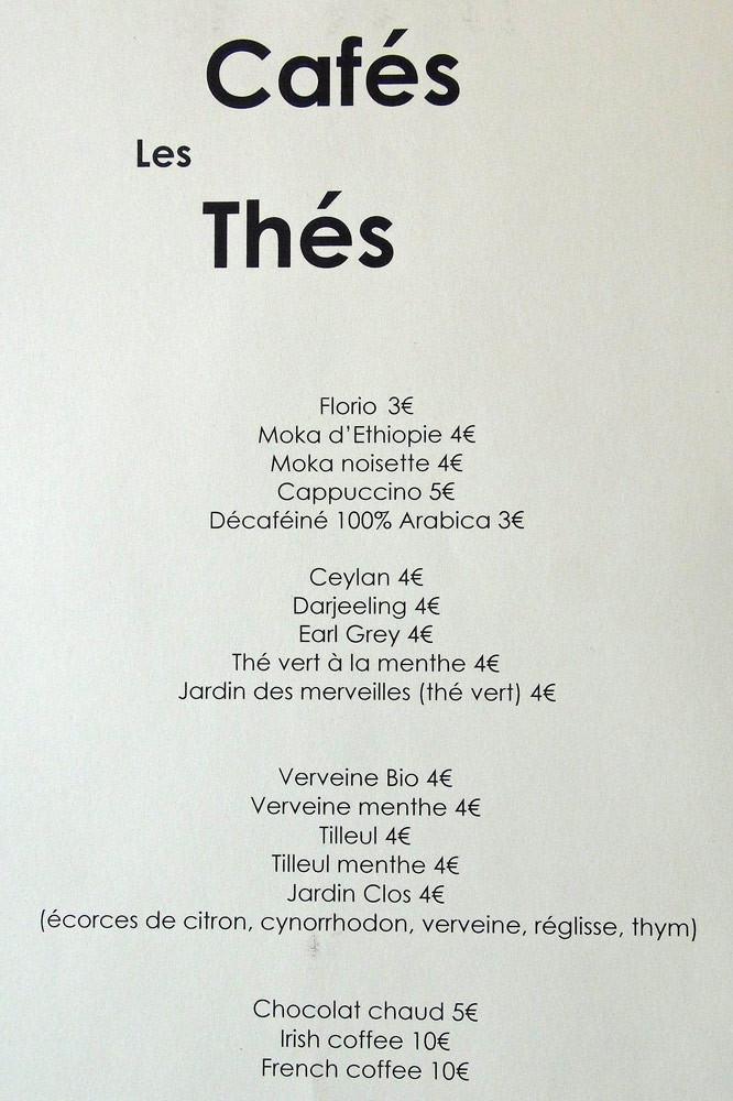 Carte des Cafés et Thés