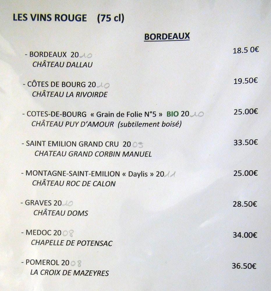 Vins rouges : Bordeaux