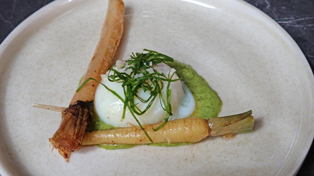 L'œuf parfait bio du Tremblay s/Mauldre, salsifis, panais et oseille