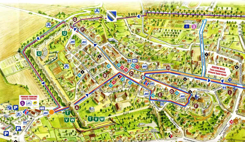 Plan de la ville et des parcours possibles