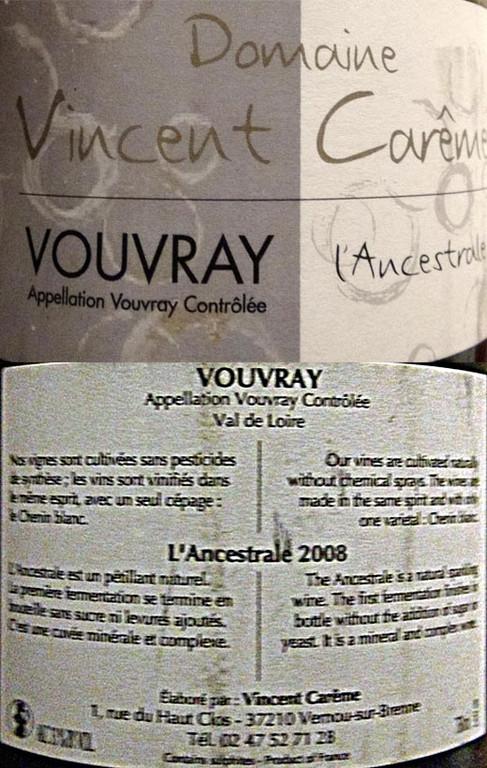 """Vouvray pétillant demi-sec """"Cuvée Ancestrale"""" 2008"""