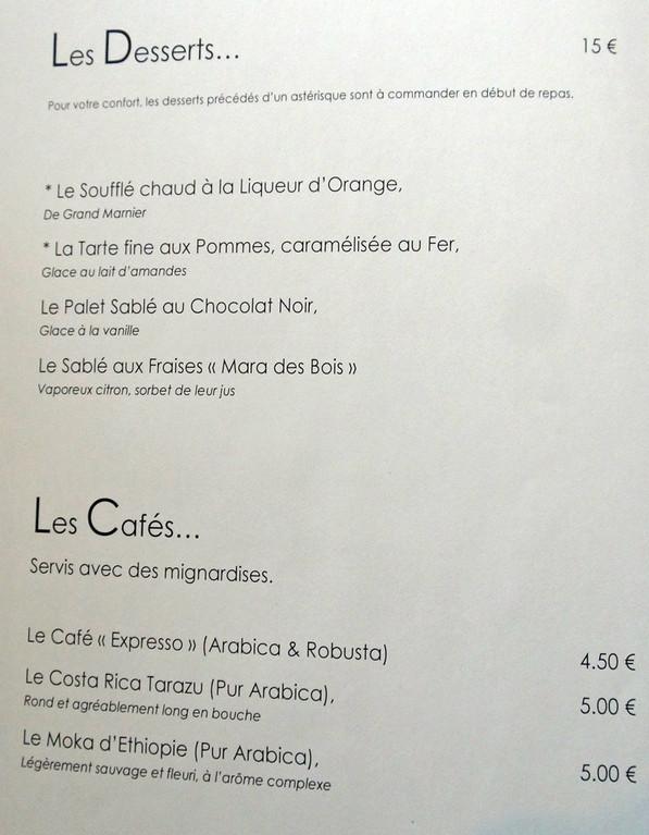Carte (desserts & cafés)