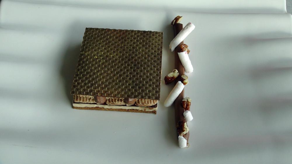 Carré craquant de chocolat Alpaco et parfait au praliné