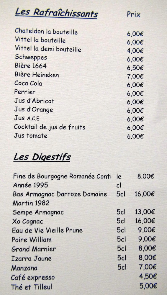 Rafraichissant et Digestifs (Attention, l'abricot n'est pas un jus de fruits mais un nectar !)