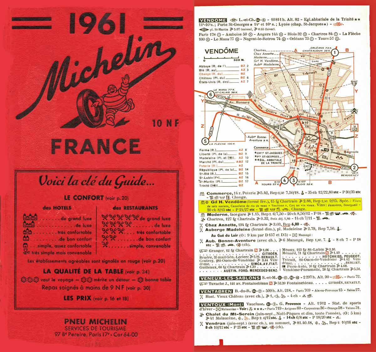 Michelin 1961 et son étoilé de l'époque à Vendôme (Fakenews de la NR)