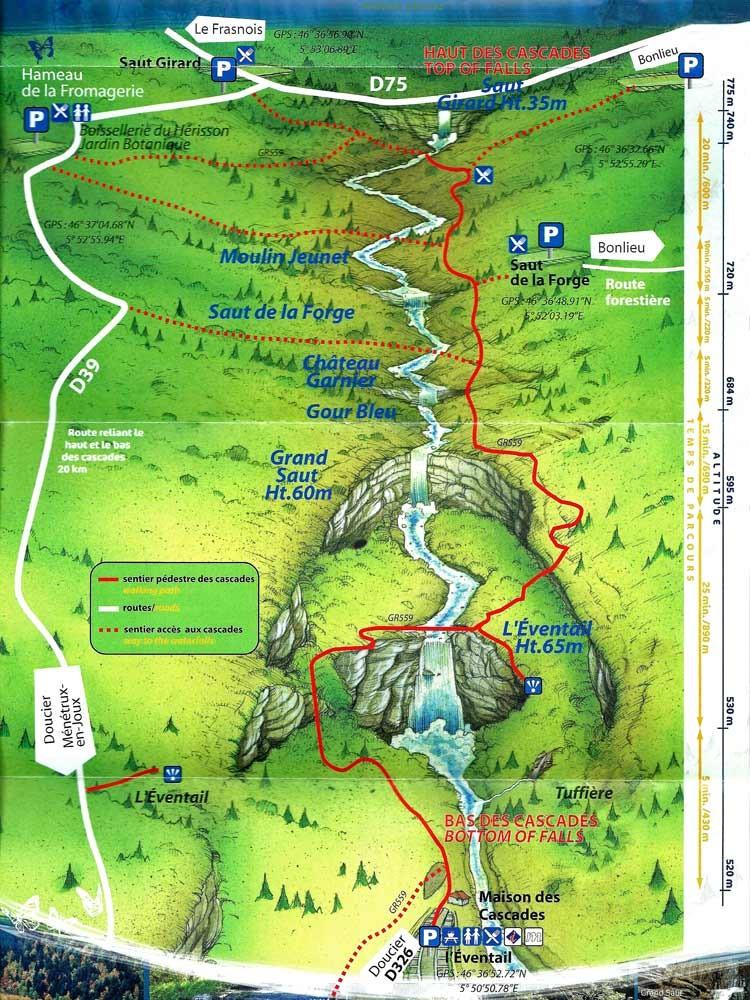 La carte des cascades du Hérisson