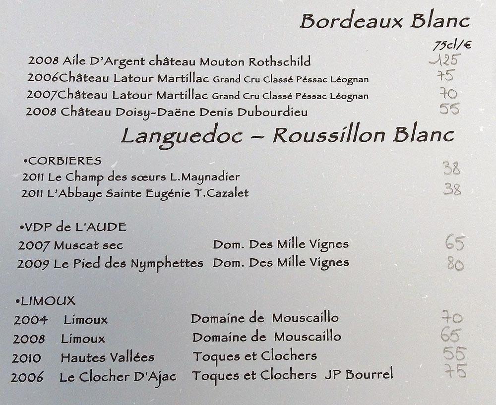 Vins de Bordeaux et du Languedoc-Roussillon blancs