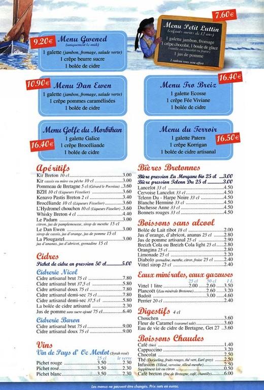 Boissons et menus