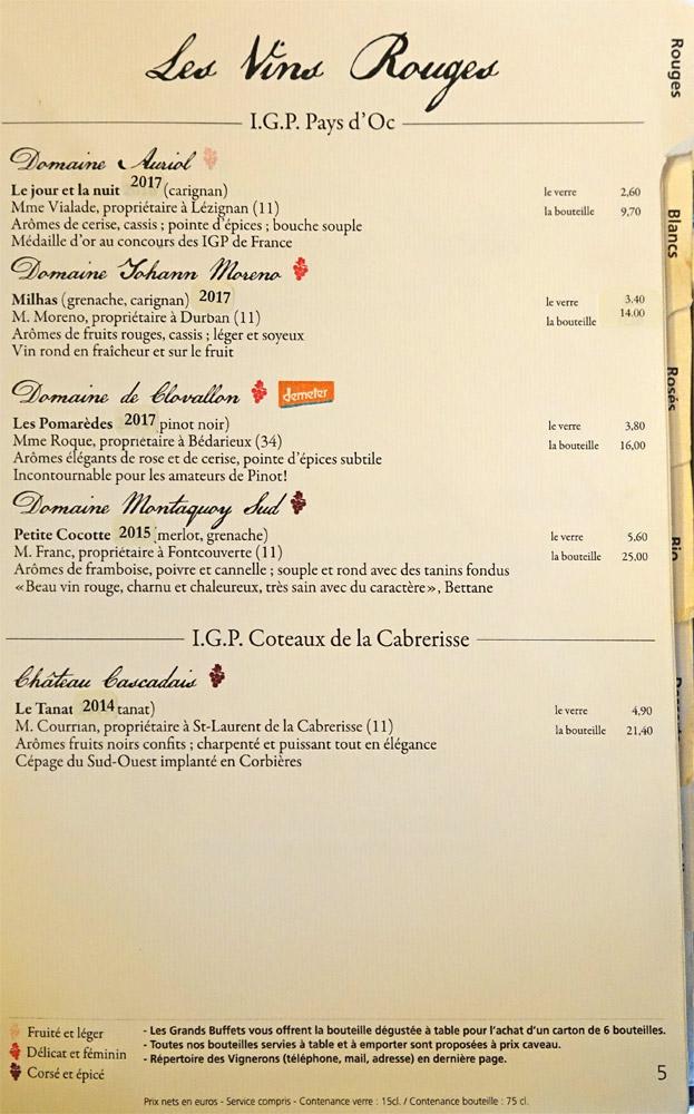 Vins rouges : IGP Pays d'Oc