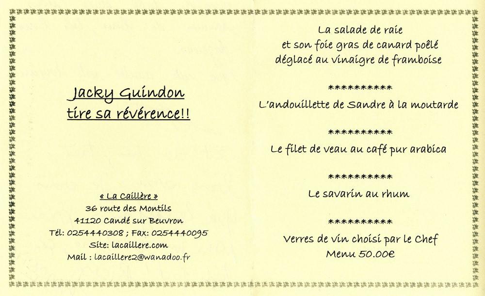 """Le menu de la """"Révérence"""""""