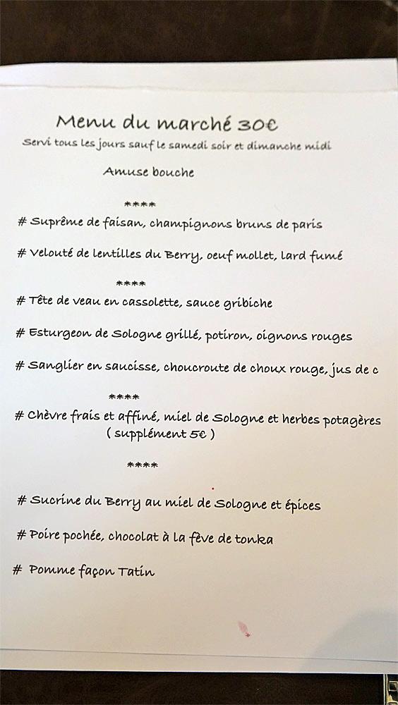 Le menu du jour