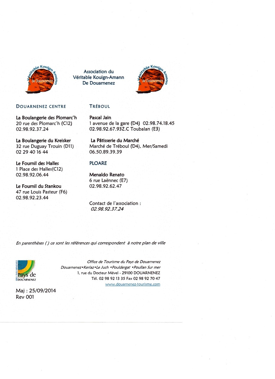 La nouvelle liste de l'Association des artisans de Douarnenez fabriquant le véritable kouign-amann