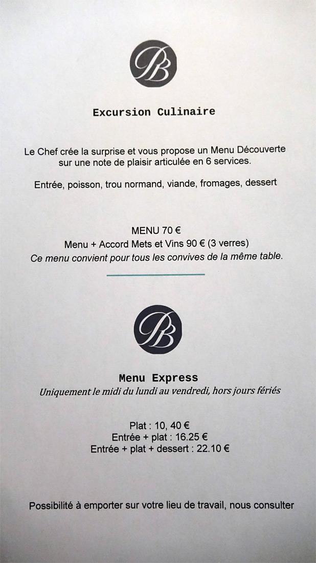 """Menus """"Excursion culinaire"""" et """"Express"""""""
