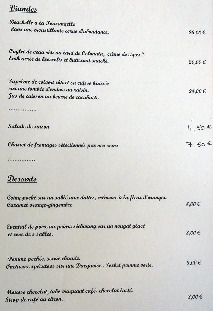 Carte des viandes et des desserts