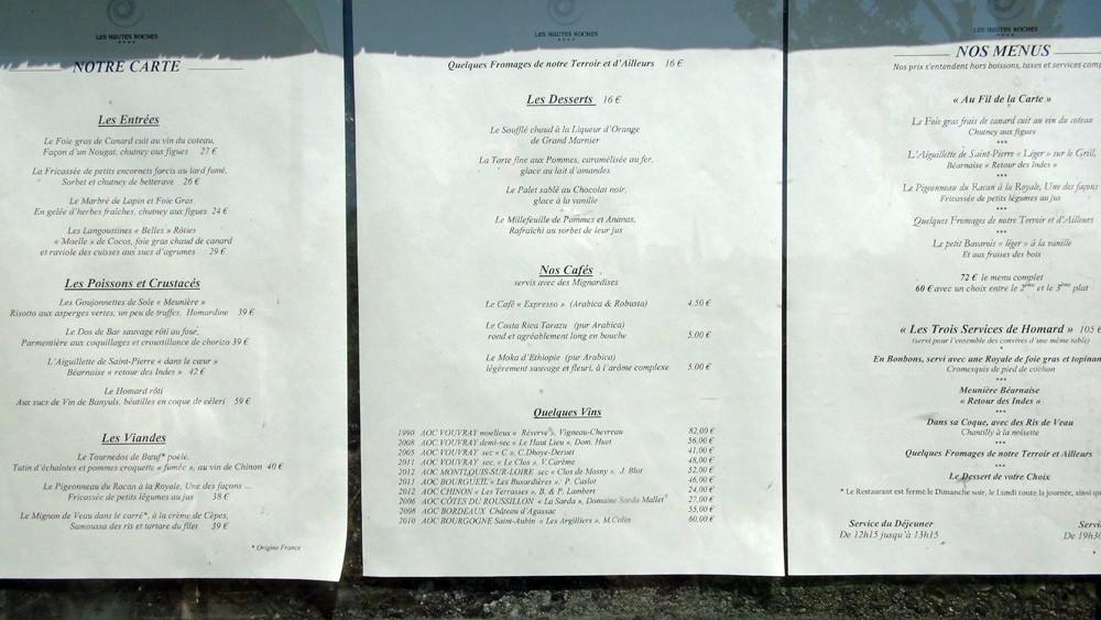 Les menus à l'entrée