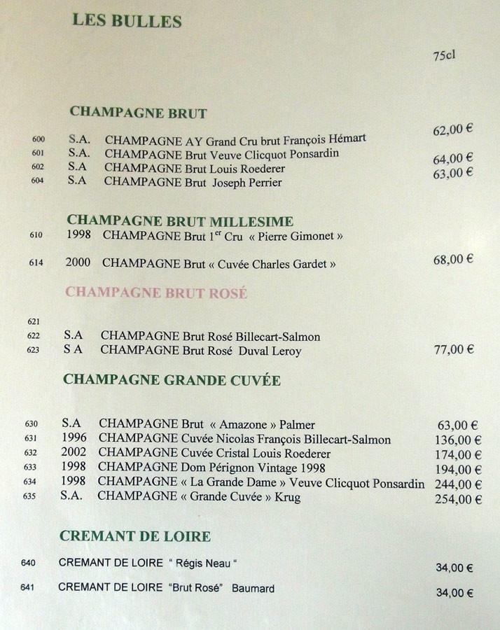 Carte des vins à bulles