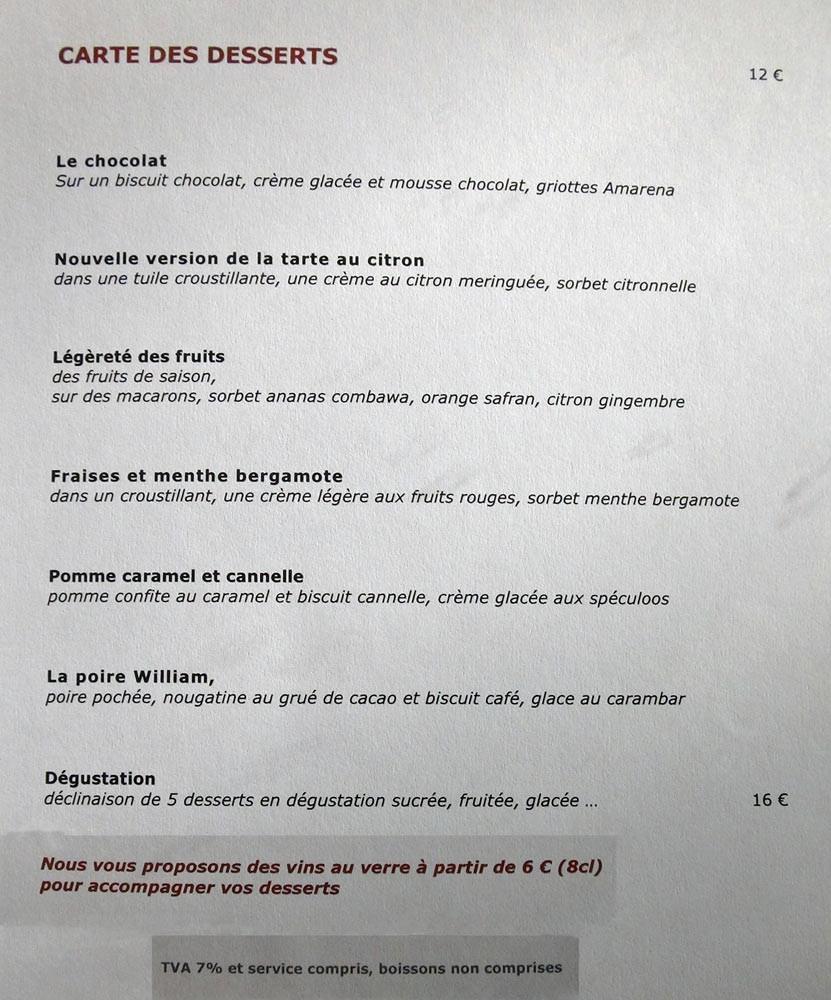 Carte des desserts - 20 octobre 2012