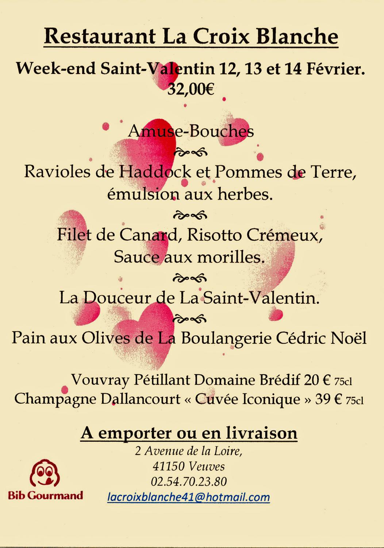 Le menu Saint-Valentin 2021