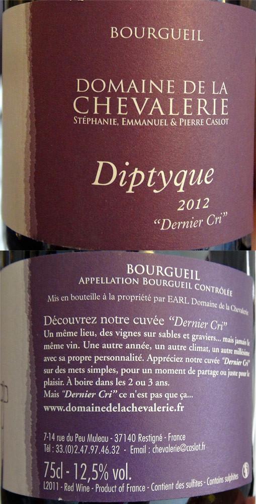 """Bourgueil 2012 """"Dyptique"""" de Pierre Caslot"""