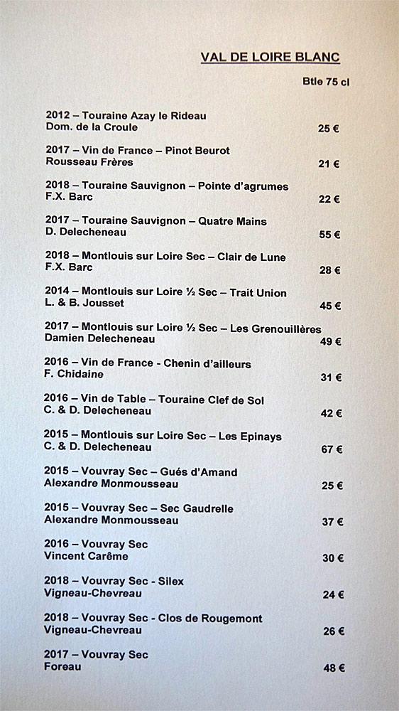 Vins blancs de la Vallée de la Loire