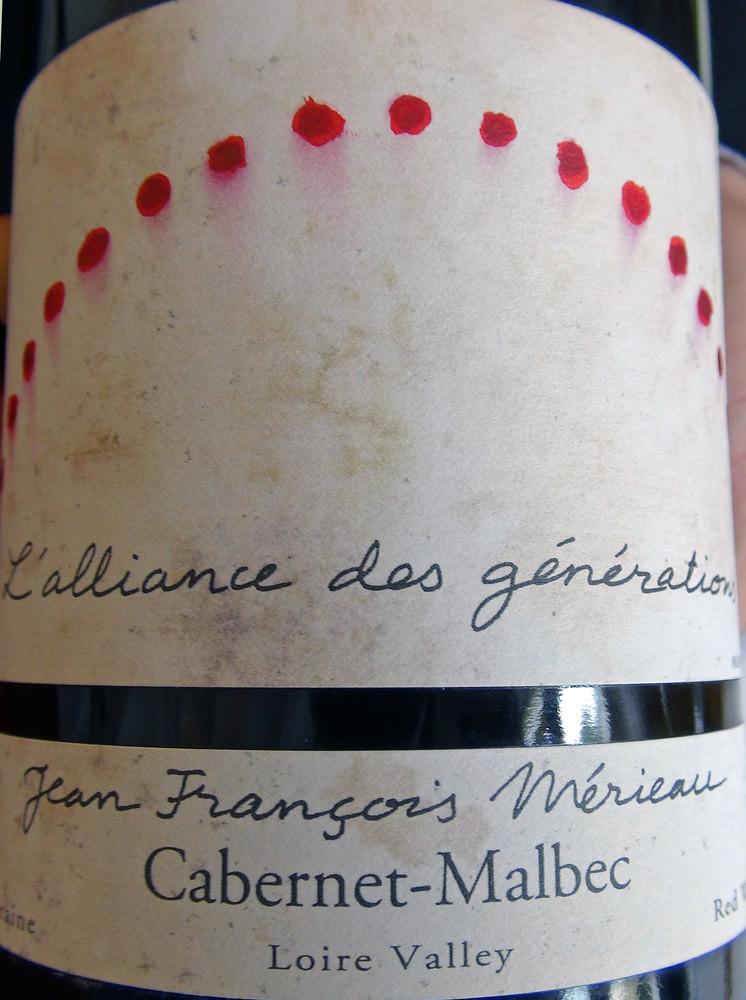 """Touraine rouge 2008 """"Alliance des générations"""" Mériaux"""