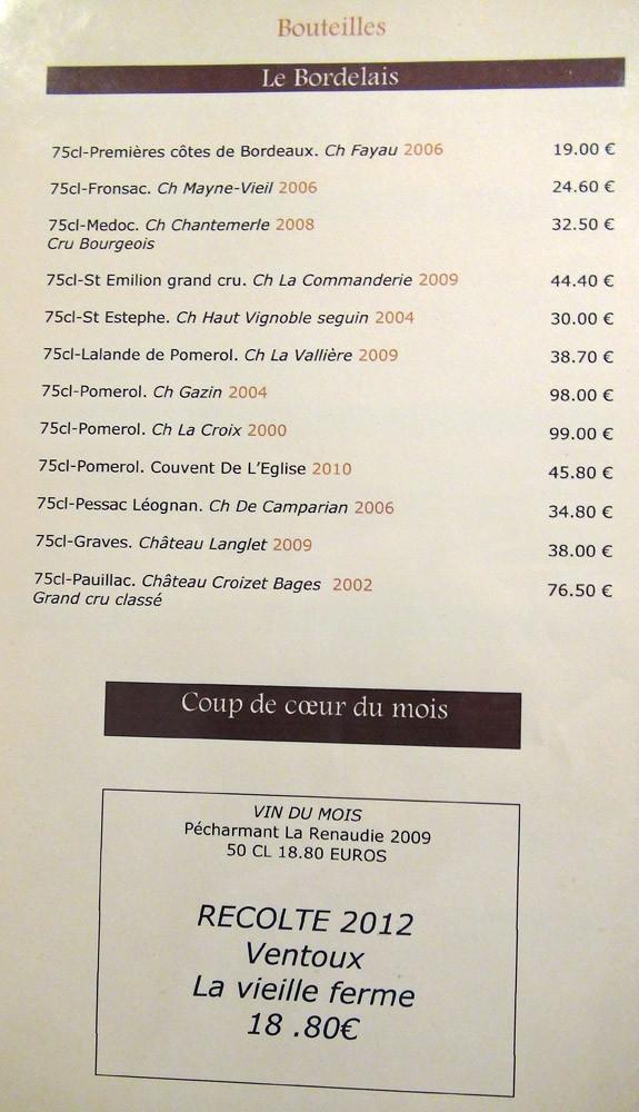 Carte des vins : Bordeaux