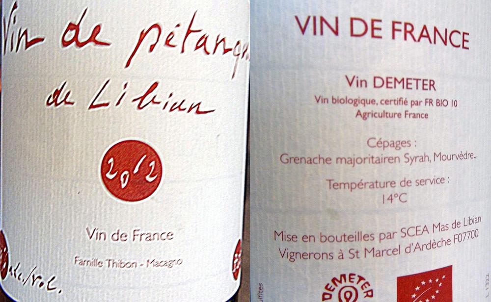 """Vin de Pétanque de Libian 2012 """"Vin de France"""""""