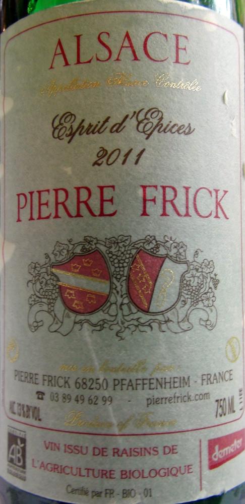 """Alsace 2011 """"Esprit d'épices"""" Pierre Frick (Cuvée d'assemblage à base de Sylvaner et de Pinot Gris, avec une petite touche de Riesling)"""