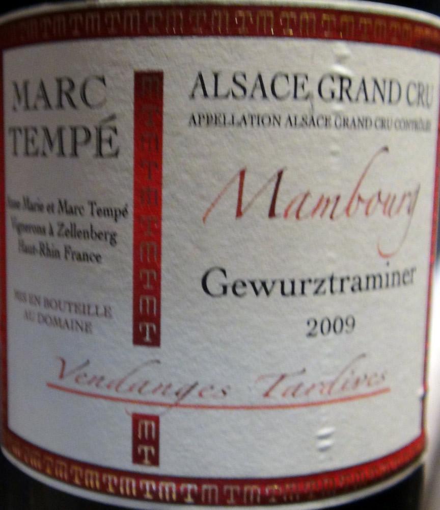 """Alsace 2009 Gewurztraminer """"Mambourg"""" Vendanges tardives d'Anne-Marie & Marc Tempé"""
