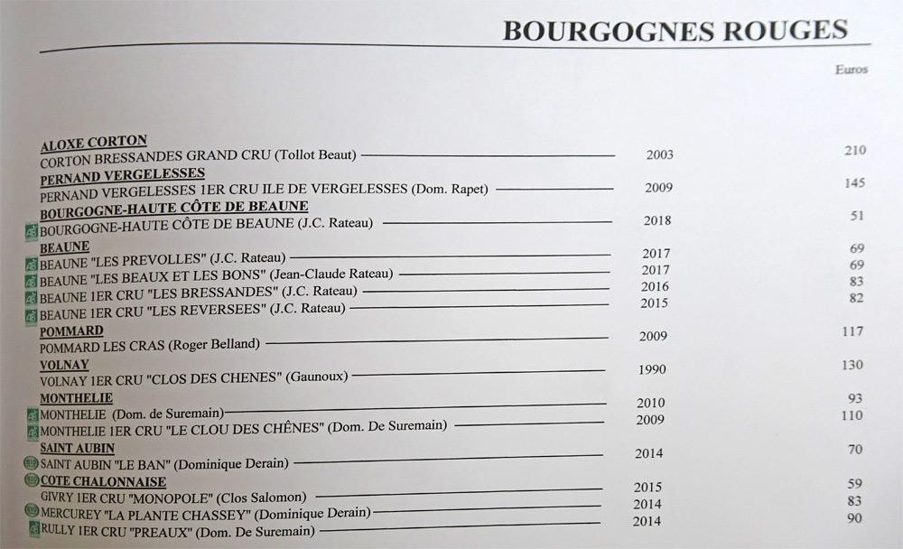 Bourgognes rouges