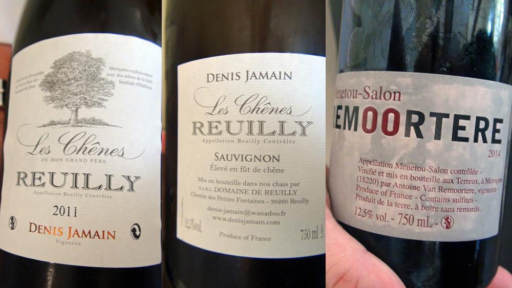 """Reuilly blanc 2011 """"Les Chênes"""" de Denis Jamain et Menetou-Salon rouge 2014 d'Antoine Van Remoortere"""