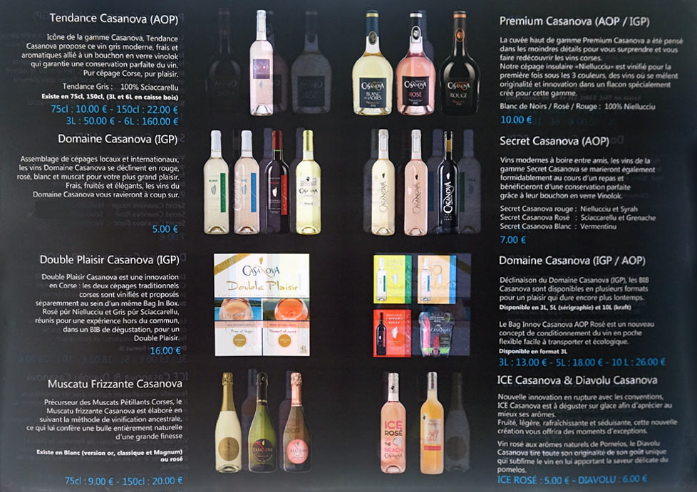 La gamme des vins commercialisés