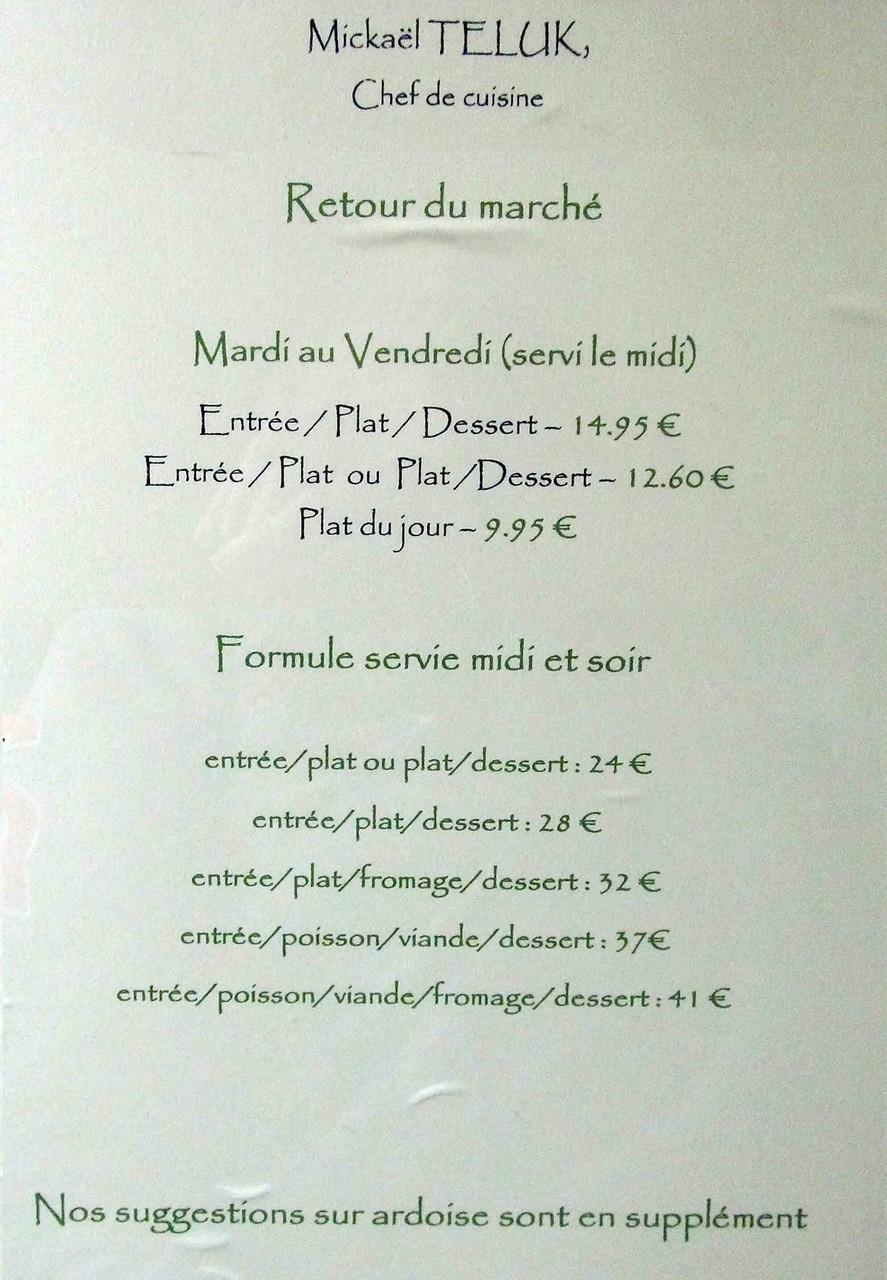 Les différents menus