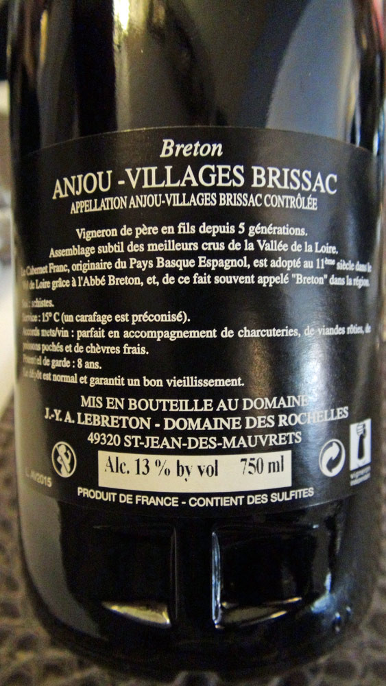 """Anjou-villages """"Brissac"""" 2012 du domaine des Rochelles d'Anita & Jean-Yves Lebreton"""