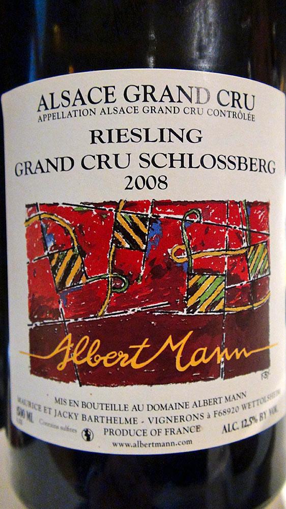 """Riesling 2008 """"Grand cru Schlossberg"""" domaine Albert Mann"""