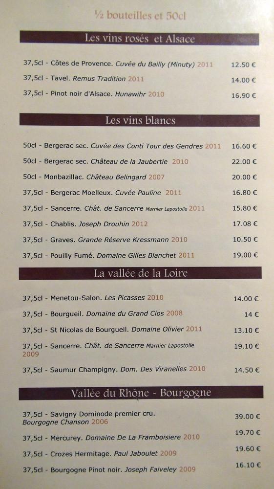 Carte des vins : demi bouteilles & 50 cl