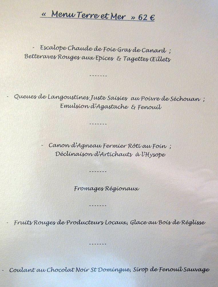 """Menu """"Terre & Mer"""" à 62 € 00"""