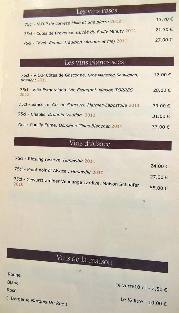 Carte des vins : Rosés, Blanc secs, Alsace et Vins de la maison