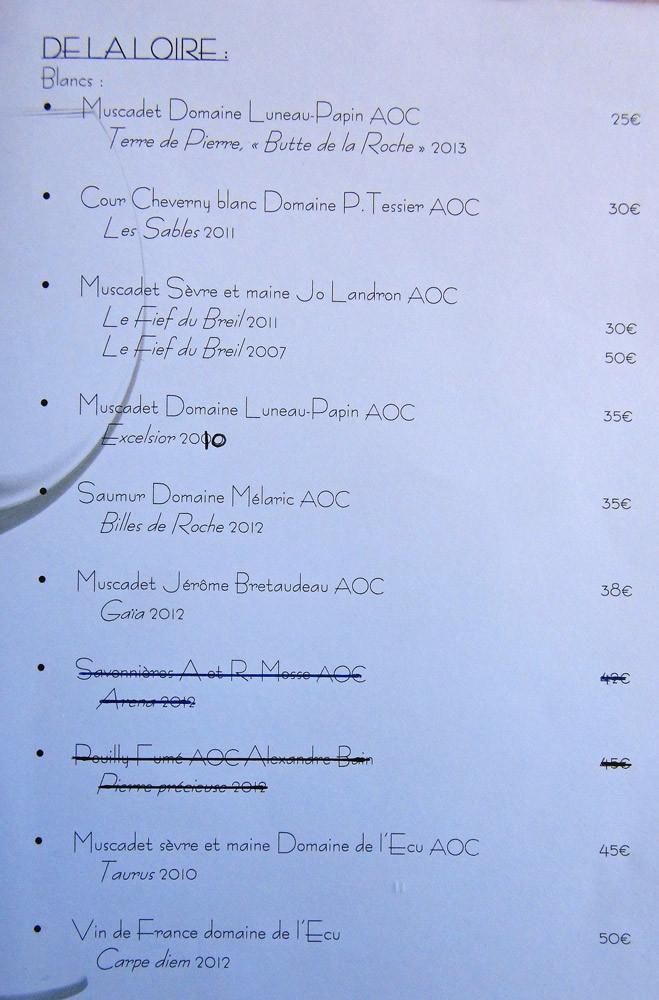 Quelques vins proposés