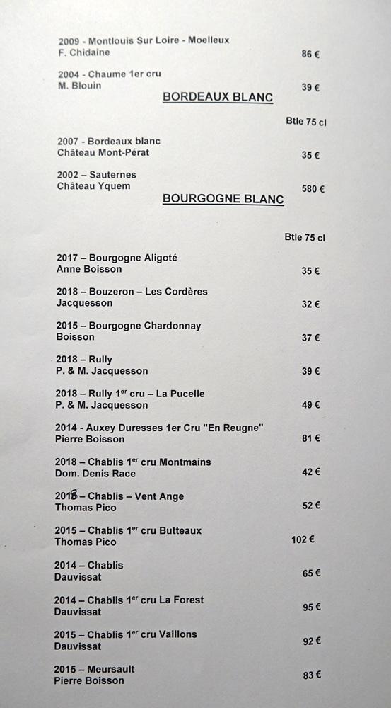 Vins blancs : Bordeaux - Bourgogne