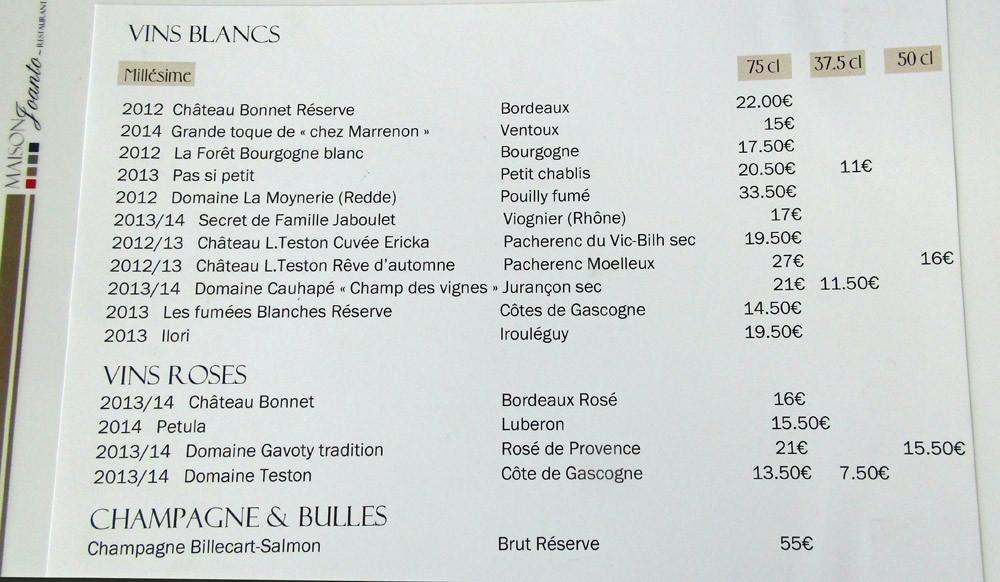 Vins blancs,  rosés et Champagne