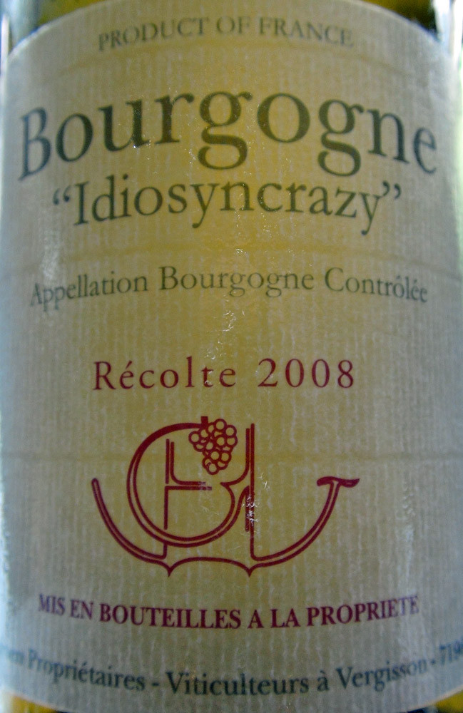 "Bourgogne blanc 2008 ""Idiosancrazy"" de Maine et Jean-Marie Guffens-Heynen"